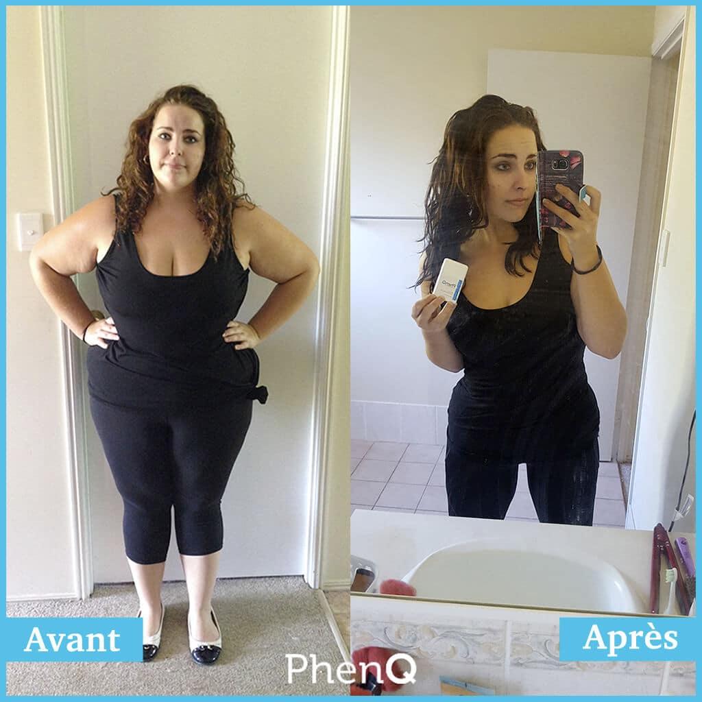 Photo avant/après des résultats de PhenQ